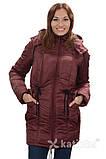 Зимняя куртка для беременных и слингоношения 4в1, бордовая, фото 3