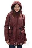 Зимняя куртка для беременных и слингоношения 4в1, бордовая, фото 4