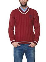 Мужской красный свитер LC Waikiki с логотипом и V-образным вырезом