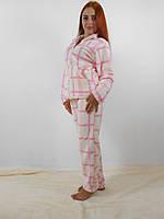 Теплая женская махровая пижама: кофта на молнии и брюки, белая в клеточку