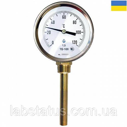 Термометр биметаллический ТБ 100-100 (-35+50°С) с радиальным штуцером