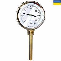 Термометр биметаллический ТБ 100-100 (-35+50°С) с радиальным штуцером, фото 1