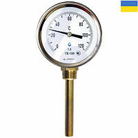 Термометр біметалічний ТБ 100-100 (0+250°С) з радіальним штуцером, фото 1