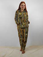 Теплая женская махровая пижама: кофта на молнии и брюки, леопардовый принт
