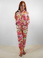 Теплая женская махровая пижама: кофта на молнии и брюки, цветочный принт