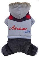 Doggy Dolly Awesome 4 legs grey hoodie Комбинезон для собак, серый XL