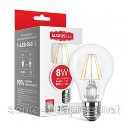 Светодиодная лампа Filament 1-LED-565 А60 8W 3000K 220V E27 Maxus