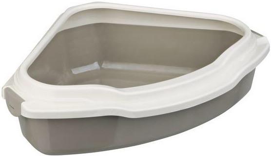 """Туалет для кошек Trixie """"Pedro"""" с рамкой угловой 55*16*42 см серый/кремовый"""