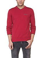 Мужской красный свитер LC Waikiki с надписью и V-образным вырезом
