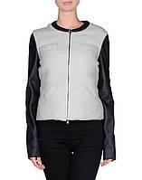 Стильная женская итальянская куртка весна/осень на пух с  рукавами из кожзама у Alysi