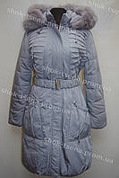 Женская зимняя куртка на замке с капюшоном голубая