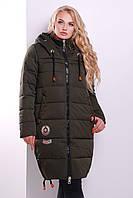 Удлиненная зимняя куртка цвета хаки, фото 1