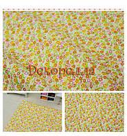 Ткань, 50*50см (желто-оранжевые цветочки на белом)