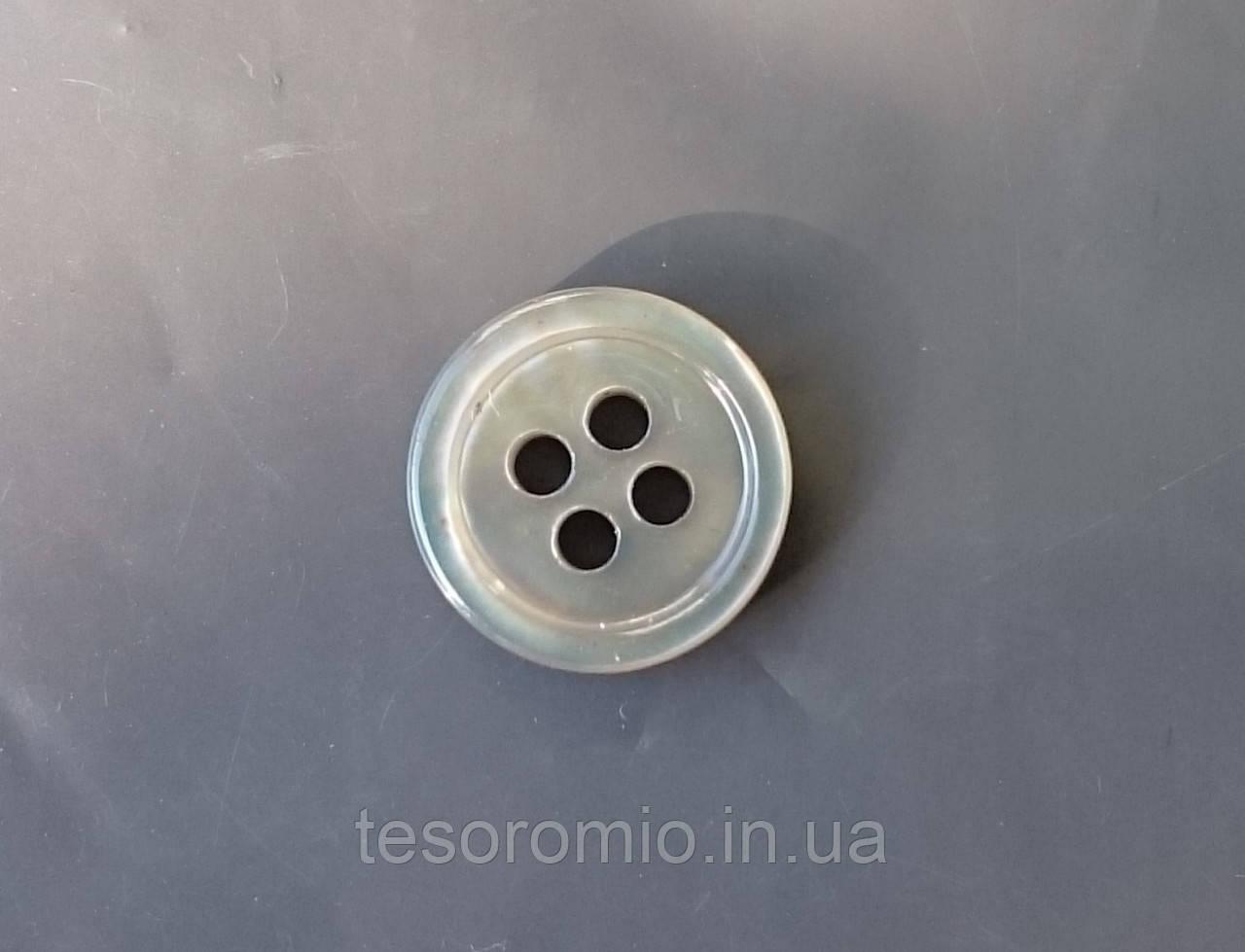 Пуговица рубашечная перламутровая серая, 11 мм диаметр