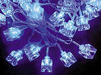 """Электрогирлянда светодиодная """"Льдинка"""", 30 ламп, голубая, 3м., прозр. провод, 8 реж. миг."""