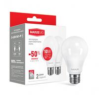 Светодиодная лампа 2-LED-561-01 A60 10W 3000K 220V E27 (по 2 шт.) Maxus
