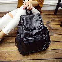 Черный городской рюкзак из кожзама