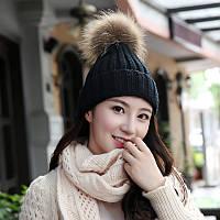 Стильная модная шапка с пумпоном