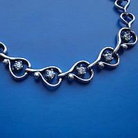 Серебряный женский браслет с фианитами,  6 камней