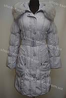 Женская зимняя куртка на замке с капюшоном серая