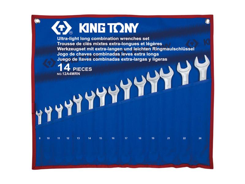 Набор комбинированных удлиненных ключей, 8-24 мм, чехол из треотона, 14 предметов. KINGTONY