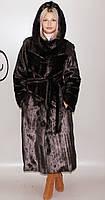 Длинная женская искусственная шуба коричневая норка  М-231 44-58 размеры