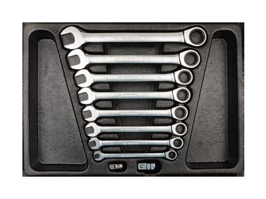 Набор комбинированых ключей с трещеткой в ложементе. 10 пр. KINGTONY