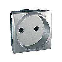 Розетка без З/К с защитными шторками Schneider Electric Unica MGU3.033.30 Алюминий