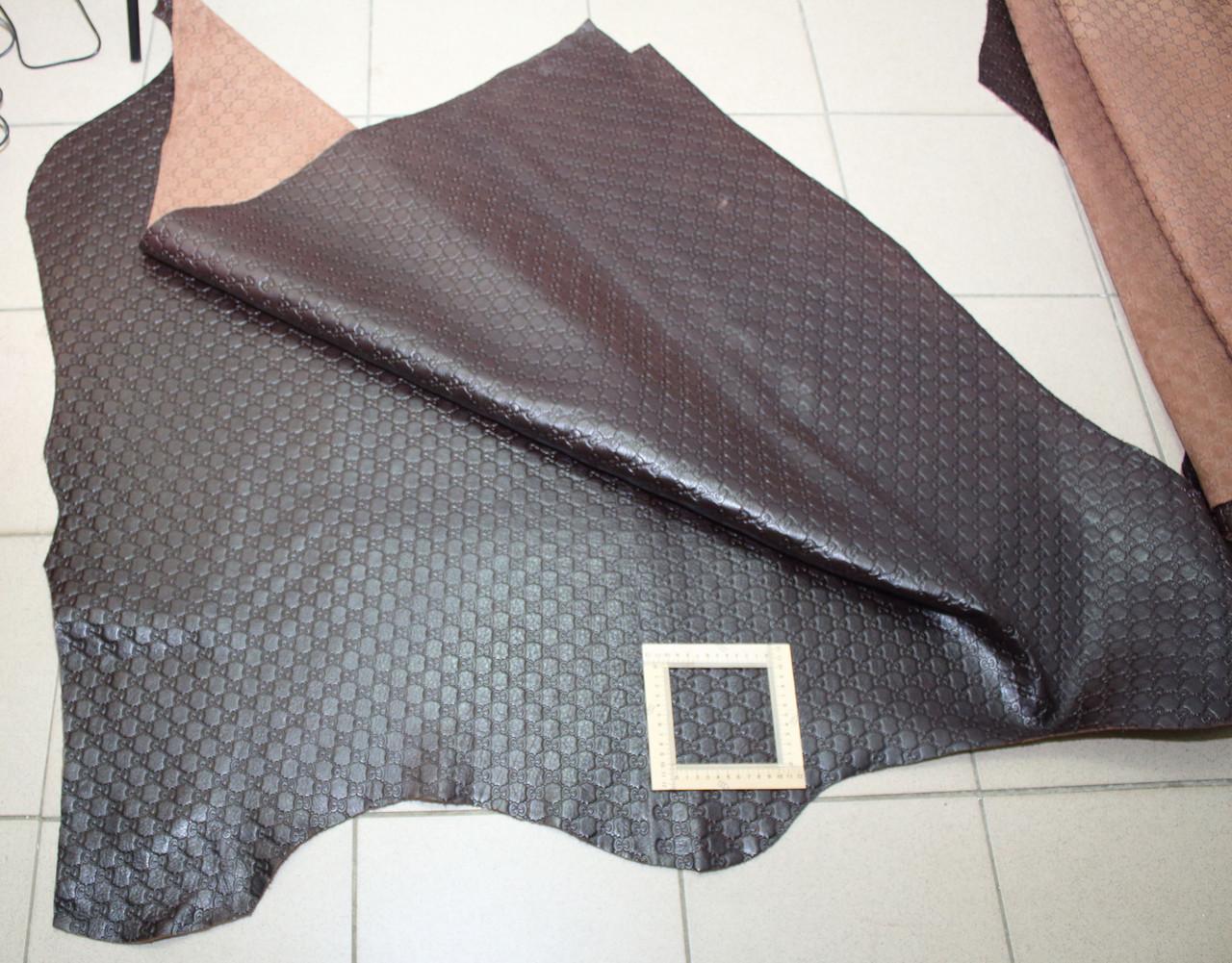Кожа GUCCI  коричневая фактурная 165