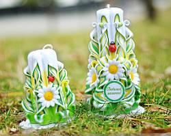 Набір різьблених свічок ручної роботи для подарунка Мамі, або на замовлення з вашої написом