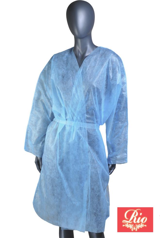 Халат одноразовый с рукавами спанбонд S 1шт голубой