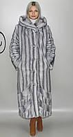 Длинная женская искусственная шуба  серо-голубая норка  М-232 42-52 размеры
