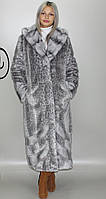 Длинная женская искусственная шуба  серо-голубой леопард М-232 42-52 размеры
