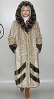 Длинная женская искусственная шуба бежевый леопард М-232 42-52 размеры