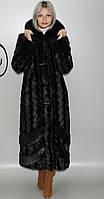 Длинная женская искусственная шуба черная норка М-232 42-52 размеры