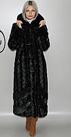 Длинная женская искусственная шуба черная норка 44-58 размеры