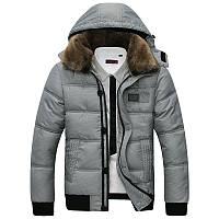 Теплая мужская куртка. Мужская куртка с капюшоном. Черная и белая., фото 1