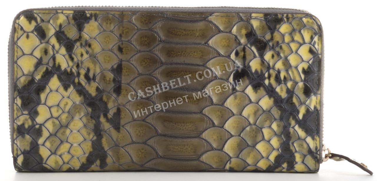 Функциональный прочный лаковый кожаный качественный женский кошелек барсетка MORO art. MR-119-76N темно-оливко
