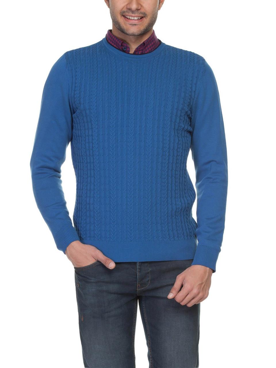 Мужской синий свитер LC Waikiki в мелкую косичку