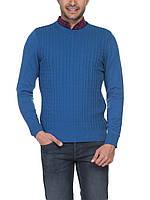 Мужской синий свитер LC Waikiki в мелкую косичку M