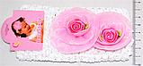 Дитячі мереживні повязочки на голову з трояндочками (12 шт), фото 2