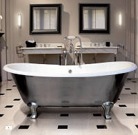 Чугунная ванна без отверстия с наружной полировкой 182x81 см ножки полированный алюминий Devon & Devon (Девон и Девон) 2MRADMILUXVECRDD