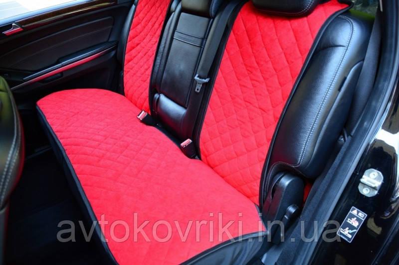 Чехлы на сиденья красные. Задний комплект. Авточехлы - фото 1