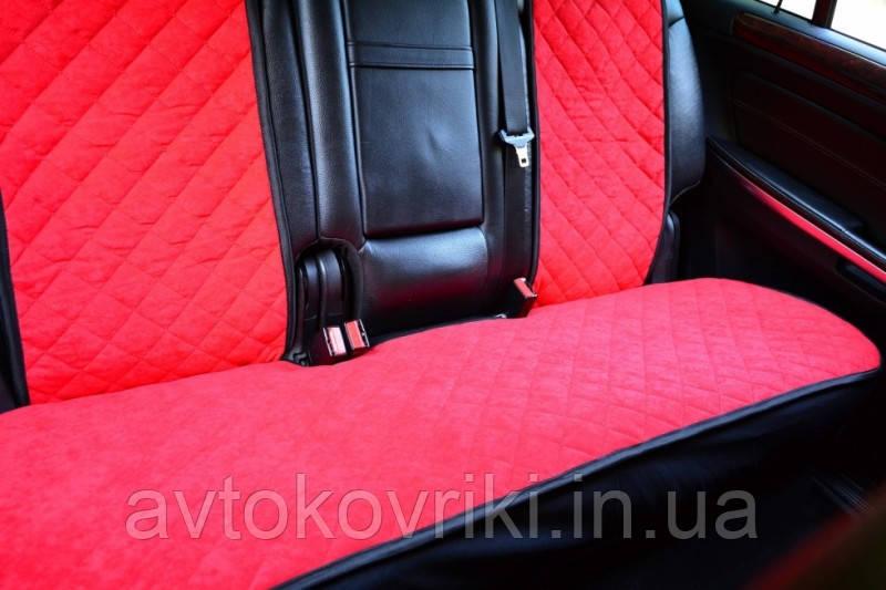 Чехлы на сиденья красные. Задний комплект. Авточехлы - фото 2