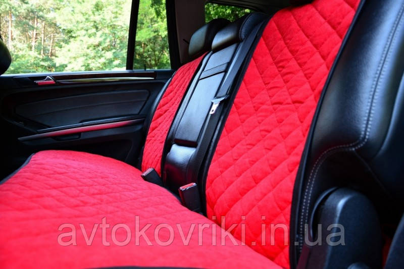 Чехлы на сиденья красные. Задний комплект. Авточехлы - фото 3