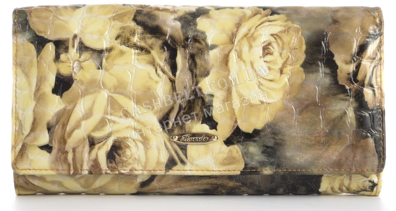 Стильный лаковый женский кожаный кошелек высокого качества H.VERDE art. 2551-D82 бледные розы