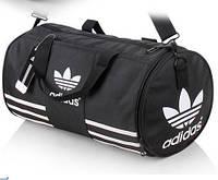Спортивная сумка Adidas черная с белым логотипом и белыми полосками