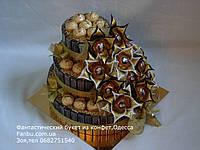 """Конфетный подарок на юбилей,торт из шоколада мерси """"Золотой триумф """""""