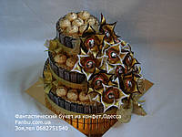 """Конфетный подарок на юбилей,торт из шоколада мерси """"Золотой триумф """", фото 1"""
