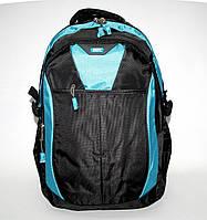 46057.315 Рюкзак для ноутбука ортопедический чёрно-голубой Enrico Benetti